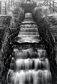 Manmade waterfall at the reservoir.