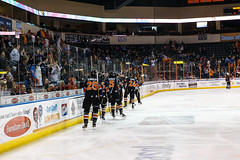 "Kansas City Mavericks vs. Toledo Walleye, January 21, 2018, Silverstein Eye Centers Arena, Independence, Missouri.  Photo: © John Howe / Howe Creative Photography, all rights reserved 2018. • <a style=""font-size:0.8em;"" href=""http://www.flickr.com/photos/134016632@N02/28060986459/"" target=""_blank"">View on Flickr</a>"