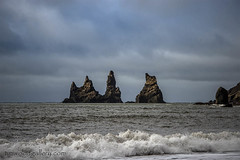 VIK SEA STACKS, ICELAND. (IMAGES OF WALES.... (TIMWOOD)) Tags: iceland island coast waterfall church sea stacks route 1 hringvegur lighthouse gallery tim wood roadtrip water landscape photograph photography vik selfoss south northern lights aurora borealis