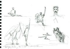 Le Kalarippayat, Art Martial du Kérala, India (Croctoo) Tags: croctoo croctoofr croquis crayon india inde artsmartiaux kalarrippayat