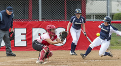 Impact Is Imminent (acase1968) Tags: sou softball nicole cardoza southern oregon university collision home plate catcher raiders ashland raider field naia cascade conference female women girl sport nikon d500 nikkor 70200mm f28g action