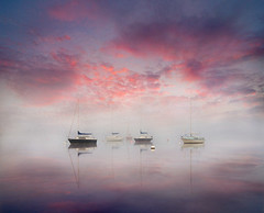 On Tranquil Waters (adrians_art) Tags: lakeullswater lakedistrictnationalpark lakedistrict cumbria water dawn sunrise morning weather foggy misty boats craft yachts sailingboats silhouettes shadows sports vessels sky clouds england uk