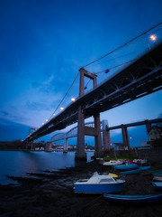 Blue Tamar (Timothy Gilbert) Tags: rivertamar saltash bluehour wideangle tamar royalalbertbridge ultrawide panasonic laowacompactdreamer75mmf20 luminar2018 boats cornwall tamarbridge gx8