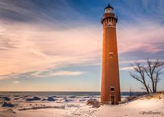 Little Sable at Sunset (Peeblespair) Tags: northernmichigan peeblespairphotography lakemichigan lighthouse winterscene littlesablepointlighthouse brickstructure fresnellens sunset
