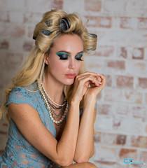 Anna Gorbunova (CrisssFotos) Tags: beltcraftstudio canon5dmark3 crisssfotos dreamproject londonn15 tamron85mmf18 femalemodels model models anna gorbunova blonde hair necklaces rollers lingerie modelling blue long