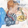 # 258 2018-01-24 (h e r m a n) Tags: herman illustratie tekening 10x10cm tegeltje drawing illustration karton carton cardboard kunst art child kind kid jongen boy eten eat vork fork