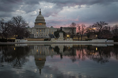 U.S. Capitol Reflecting Pool (Brandon Kopp) Tags: 1635mm capitol d750 dc dcist nikon reflecting reflection sunrise washingtondc washington districtofcolumbia unitedstates uscapitol capitolreflectingpool clouds cloudy winter governmentshutdown