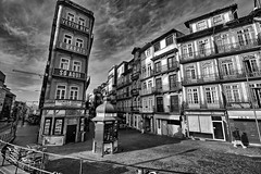 No, it's not in Pisa.. (kalbasz) Tags: porto portugal blackandwhite city street building architecture hdr outdoor fuji xt2 xf1024