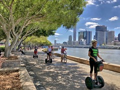 Brisbane South Bank (Lance # Australian photographer) Tags: segway training tour brisbane people footpath outdoor lifestyle recreation fun brisbaneriver cityscape city