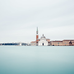 San Giorgio Maggiore (One_Penny) Tags: italy photography venedig venezia venice sangiorgiomaggiore square minimal squarecrop balance water sky church blue longexposure composition architecture city town tones blur bright red squared squareformat italia isle island canal