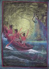 Maui Fishing for the Hawaiian Islands with the Manaiakalani, the magic fishook (ArneKaiser) Tags: 2ndgrade hws haleakalāwaldorfschool manaiakalani maui mrkaisersclass waldorf chalk chalkart chalkboard chalkdrawings legends