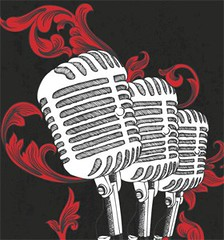 Vector T-shirt Design with Microphone and Floral (stockgraphicdesigns) Tags: antique audio broadcast concert decor decoration decorative dirty electronic elegant equipment fashion floral flourish flowers grunge mic microphone mike music musical nature retro rust smartpack12 sound vintage volume