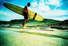 Lomo – wax and ink (lomomowlem) Tags: analogue beach bluesky crossprocess colourstreambrighton coast cornwall ebx expiredfilm groundshot kodakelitechrome lomo lomography lca lofi lowdown ratseye sand surfer surfboard xpro xprocess