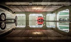 CAR PARK REFLECTION (James Stonley) Tags: water puddle auckland rainfall rain after car park abandoned nikon d750 sigma art 2470 puddles