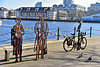 Sustrans Portrait Bench (Geoff Henson) Tags: michaelcaine sculpture art surreydocks surreyquay greenlanddock water buildings sky docks london bycycle pigeons