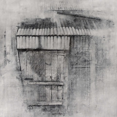 Old shed, Crown Farm (johnhumber48) Tags: agriculturallandscape eastyorkshire expressivedrawing graphite graphitedrawing gesso holderness humber largedrawing sunkisland door shed farmbuildings