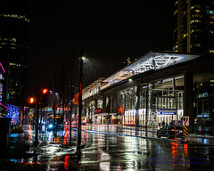 TransLink's Metrotown On A Rainy January Night (AvgeekJoe) Tags: britishcolumbia burnaby canada d5300 dslr importedkeywordtags lightrail metrotownstation nikon nikond5300 novabuslfs sigma1835mmf18 sigma1835mmf18dchsmart sigma1835mmf18dchsmartfornikon sigmaartlens skytrain train translink vancouver masstransit night nightphoto nightphotograph nightphotography nightshot rail rain raindrops rainy trainstation transit urbanrail