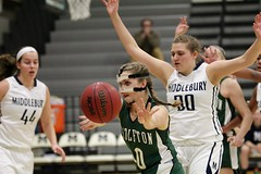 Masked lady, no-look pass (stephencharlesjames) Tags: basketball indoor sports action womens sport ball middlebury college castleton vermont ncaa