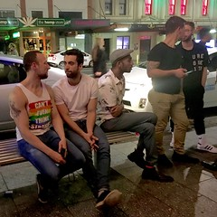 IMG_8639 (danimaniacs) Tags: newzealand gay people tanktop beard scruff family street bench auckland