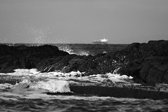Wave with a Jupiter 11 Lens (mcdowall.mark) Tags: waves dunure ayrshire scotland 2018 winter black white monochrome canon50d jupiter11 lens lomography seascape sea ocean water rock sky wave shore beach coast