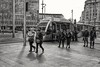 People & tram, daily scene. (Fencejo) Tags: canon600dt3ikissx5 canonefs24mmf28stm blackwhitebwstreetcityblackandwitestreetphotographymonochrome hyperfocal candid people