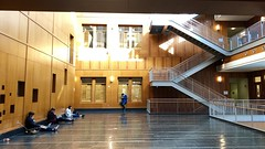 Stanley Hall, UCB, BioScience & Engineering (Melinda Stuart) Tags: academia hall architecture new 2007 ucb berkeley uc bioscience engineering science university study discovery staircase wood paneling windows sunlight noon students railing