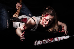 D E L I R I U M • T E N (Dominique Richeux Photography) Tags: hache ax hatchet atchet violence violent meurtre murder slaughter young girl woman fille jeune beauty beautiful blood sang scene pose fashion shooting weapon arm batte baseball