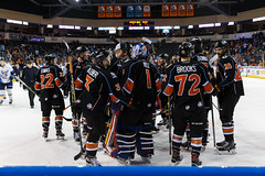 "Kansas City Mavericks vs. Toledo Walleye, January 21, 2018, Silverstein Eye Centers Arena, Independence, Missouri.  Photo: © John Howe / Howe Creative Photography, all rights reserved 2018. • <a style=""font-size:0.8em;"" href=""http://www.flickr.com/photos/134016632@N02/39807641762/"" target=""_blank"">View on Flickr</a>"