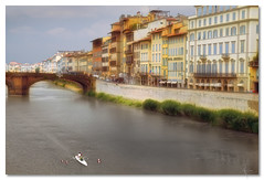 Florence bridge and rowers - by John Runions (jrunions1) Tags: firenze florence arno bridge italy rowers