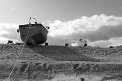 boats on the beach - explored (quietpurplehaze07) Tags: beach sizewell boats cloud light bw landscape