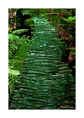 Stacked Glass (paulinecurrey) Tags: sculpture glass stacked art creative lines pattern woodland rural plants lightandshade