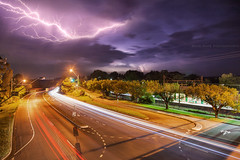 The Skies Light Up || VALLEY HEIGHTS || BLUE MOUNTAINS (rhyspope) Tags: australia aussie nsw new south wales canon 5d mkii thunder lightining night storm thunderstorm bolt weather rhys pope rhyspope road highway great western valley heights traffic trails long exposure blue mountains