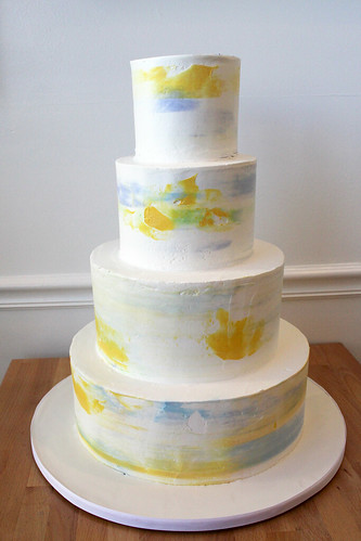 Watercolor Style Buttercream Wedding Cake