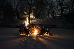 Bon Fire on the Lake (Kathy~) Tags: night fire michigan winter ontheice bonfire cheers people group fotocompetition fotocompetitionbronze