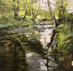 Water Unravels - oil on canvas 90 x 90 cm available for sale (www.sandragraham.co.uk) Tags: art artwork artists artist painting oil contemporary collectors worcestershire shropshire nature water brook stream trees fishing trout mindfulness