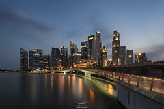 Blue hour Singapore Business District (tapanuth) Tags: singapore skyline cbd downtown cityscape bluehour longexposure skyscraper architecture travel attraction landmark famous asia southeastasia tourism sightseeing twilight city urban night light office view scenery marinabay bay water waterfront merlion