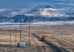 Marblehead, Utah (rolfstumpf) Tags: usa utah marblehead unionpacific desert trains emd sd402 up3514 mountains clouds olympus e520 landscape snow winter westernpacific railway railroad
