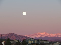 March 2, 2018 - A setting full moon over the Rocky Mountains. (David Canfield)