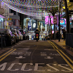 """""""access"""" (hugo poon - one day in my life) Tags: xt20 1855mm hongkong causewaybay yunpingroad shopping citynight lights colours access sign roadsign festive motorcycle"""