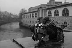 Love (vannuc) Tags: 2018 rain lucchetto amore winter top canon70d canon blackandwhite bnw holiday europe lubiana slovenia river bridge love rana frog