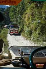 Crossing buses on the road to Naya Pul, Annapurna massif, Nepal (Alex_Saurel) Tags: bus asia tatabus green levierdevitesse routedemontagne photoreport vert asian tata day earthroad reportage gearlever travel 35mmprint vegetation nepal crossingbuses bustata photospecs gearshift mountainroad asie nature photojournalism parebrise steeringwheel scans stockcategories annapurnaconservationarea time volent photoreportage transportation nepalibuses sony50mmf14sal50f14