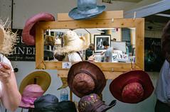 Manly village markets  #513 (lynnb's snaps) Tags: 2011 35mm fujicolour400 manly mjuii colour film people street manlyvillage markets sydney australia c41 hats mirror olympusmjuii streetmarkets