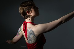 Anna Lee (austinspace) Tags: woman portrait spokane washington model shorthair dress necklace earrings shadow