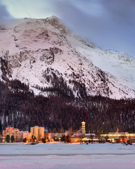 View of St Moritz in the Morning, Switzerland (ansharphoto) Tags: alpine alps architecture beautiful blue building church city cityscape dawn europe european glacier history holiday house iconic illuminated lake landmark landscape lights moritz morning mountain mountains night resort scene scenic ski sky skyline snow snowscape snowy st suisse swiss switzerland tower town travel twilight vacation valley view village white winter