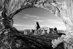Turret Arch Through North Window Arch, Utah (thedot_ru) Tags: arch turretarch northwindow arches nationalpark utah blackandwhite bw canon5d 2015