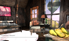 22769 - Love Shack for the Gacha Garden :  February 2018 (manuel ormidale) Tags: doormat valentine valentinesday love wood woodenhouse singleroomhouse bed chair boxtree heart fruits pouf lamp candle loveseat pacopooley 22769 22769~bauwerk bauwerk tgg gachagarden woovenleather bench indoor indoorfurniture bedroom