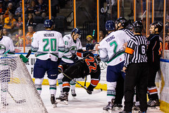 """Kansas City Mavericks vs. Florida Everblades, February 18, 2018, Silverstein Eye Centers Arena, Independence, Missouri.  Photo: © John Howe / Howe Creative Photography, all rights reserved 2018 • <a style=""""font-size:0.8em;"""" href=""""http://www.flickr.com/photos/134016632@N02/26516788748/"""" target=""""_blank"""">View on Flickr</a>"""