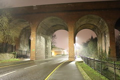 Cray Valley,19 (doojohn701) Tags: streetlighting viaduct railway architecture dusk railings fence raining trees crayvalley uk