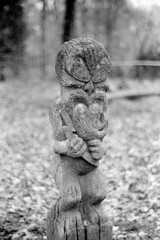 carved-figure-ninesprings (Burns-pictures) Tags: yeovil statue ninesprings somerset zorki fomapan 35mm