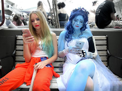 texting out of character (greyloch) Tags: dragoncon cosplay costumes harleyquinn thecorpsebride 2017 moviecharactercostume moviecharacter sony dsctx30 niksoftware animatedcharactercostume animatedcharacter